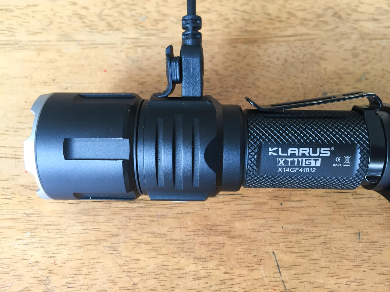 USB charging on Klarus XT11GT