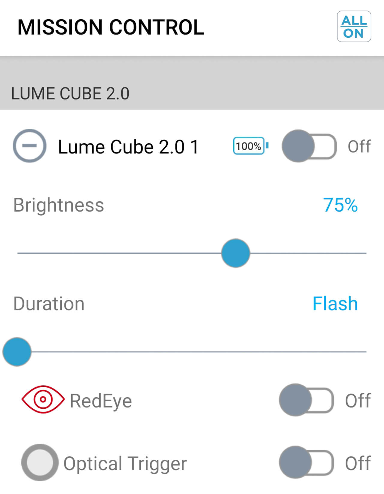 Screenshot of Lume-X app