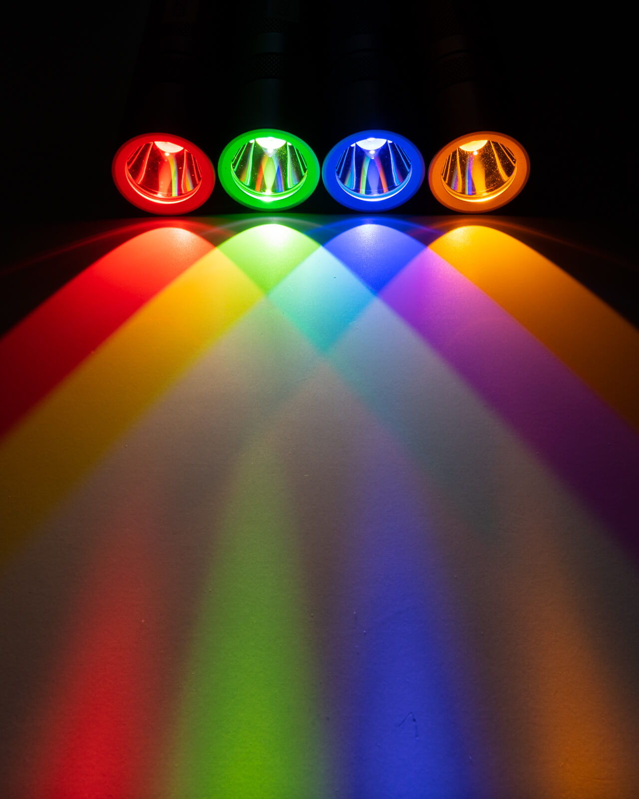 Convoy S2+ torches. with Osram CSLNM1.23 (Red), F1 (Green broad spectrum), .14 (Blue), and .FY (Orange-Yellow broad spectrum) emitters.